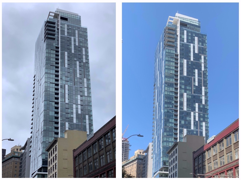 White glass building accents